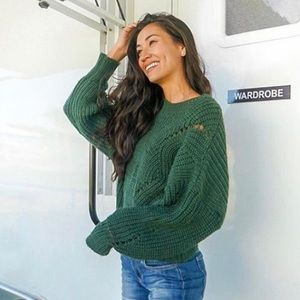 Comfy Green Knit Sweater Size S/M